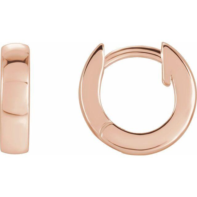14K Rose 9.5 mm Huggie Earrings