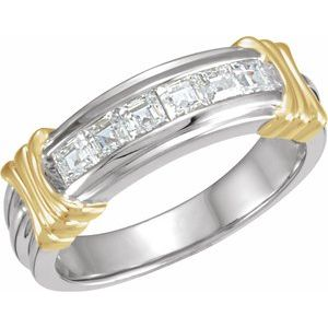14K White/Yellow 1 CTW Diamond Band