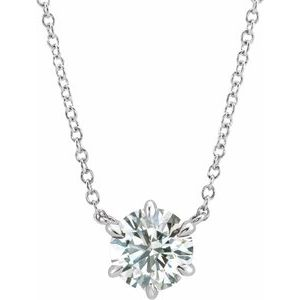 "14K White 7/8 CT Diamond Solitaire 18"" Necklace"
