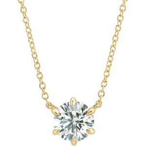 """14K Yellow 1/4 CT Diamond Solitaire 16"""" Necklace"""