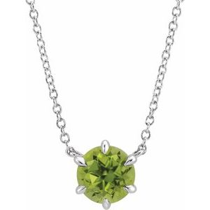 """Sterling Silver Peridot Solitaire 16"""" Necklace"""