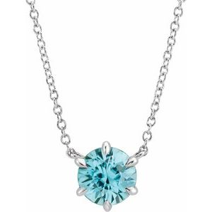 "14K White Blue Zircon Solitaire 16"" Necklace"