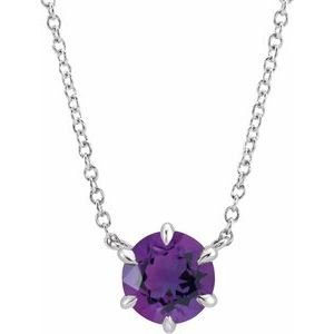 "14K White Amethyst Solitaire 18"" Necklace"