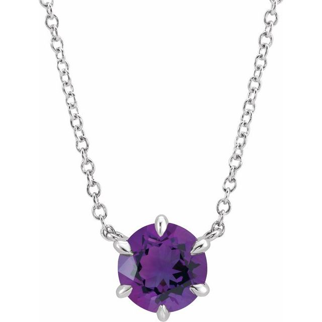 Sterling Silver Amethyst Solitaire 18