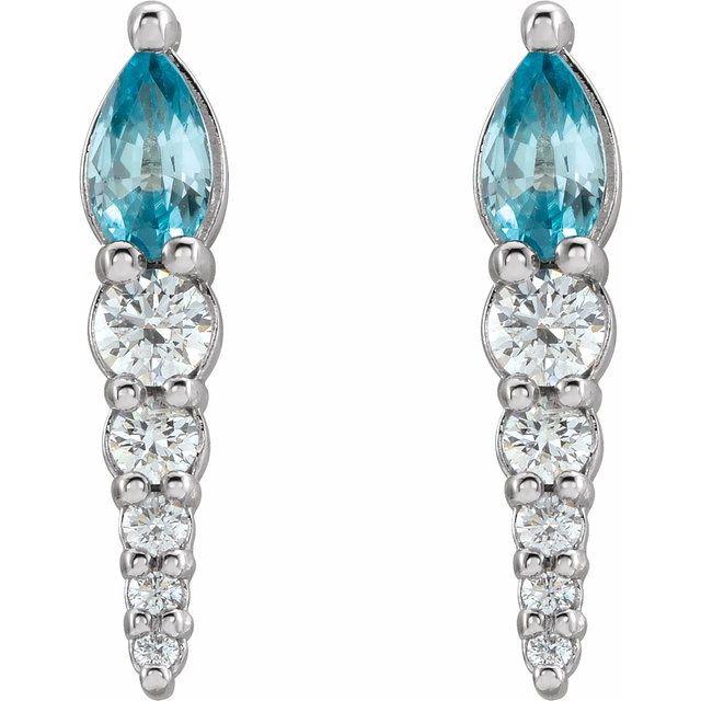 14K White Blue Zircon & 1/4 CTW Diamond Earrings