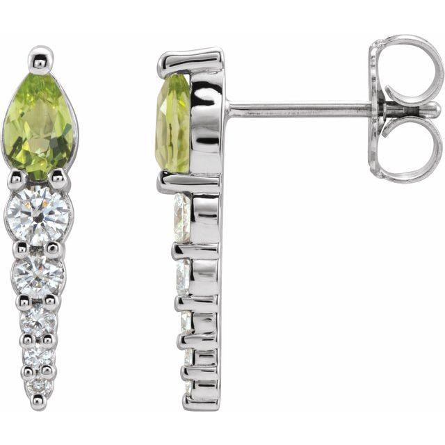 14K White Peridot & 1/4 CTW Diamond Earrings
