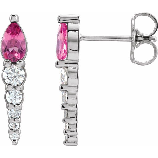 14K White Pink Tourmaline & 1/4 CTW Diamond Earrings
