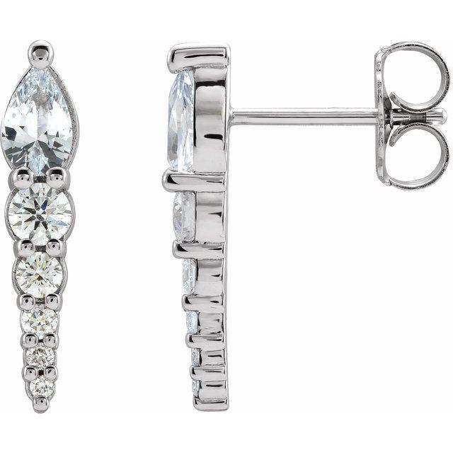 14K White Sapphire & 1/4 CTW Diamond Earrings