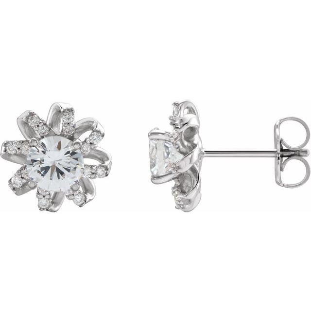 14K White Sapphire & 1/6 CTW Diamond Halo-Style Earrings