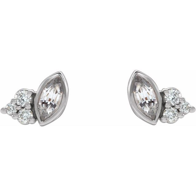 14K White Sapphire & .05 CTW Diamond Earrings