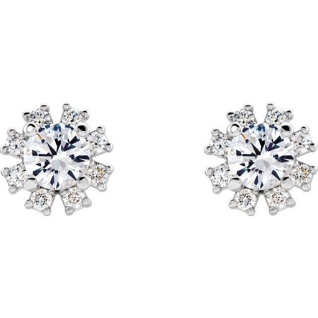 14K White Sapphire & 1/2 CTW Diamond Earrings