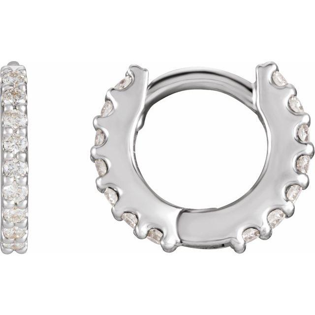 14K White 1/4 CTW Diamond 10.32 mm Huggie Earrings