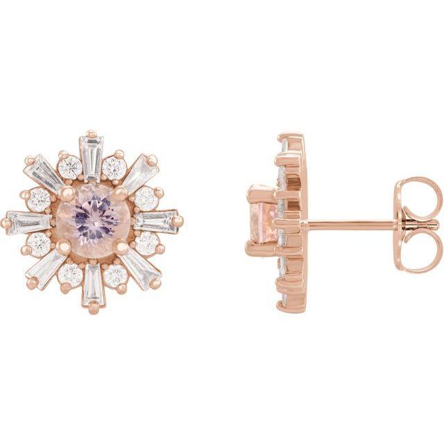 14K Rose Morganite & 3/4 CTW Diamond Earrings