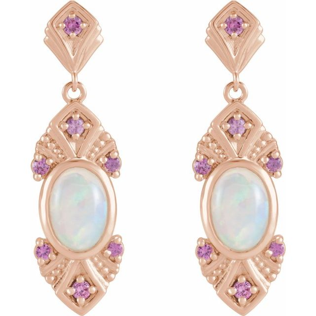 14K Rose Ethiopian Opal & Pink Sapphire Vintage-Inspired Earrings