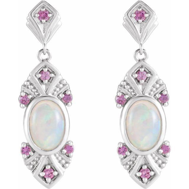 14K White Ethiopian Opal & Pink Sapphire Vintage-Inspired Earrings
