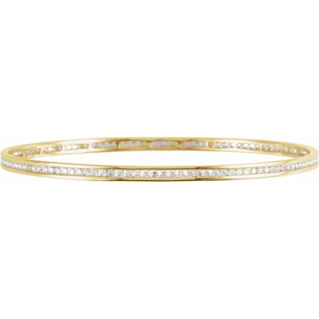 "14K Yellow  2 1/4 CTW Diamond Stackable Bangle 8"" Bracelet"