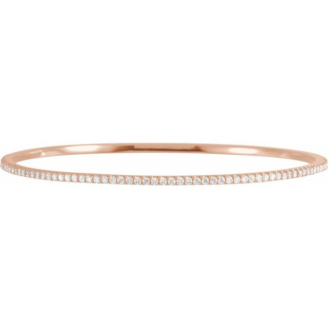 "14K Rose 2 CTW Lab-Grown Diamond Stackable Bangle 8"" Bracelet"