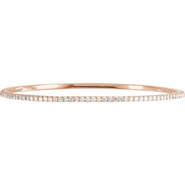 "14K Rose 3 CTW Diamond Stackable Bangle 8"" Bracelet"