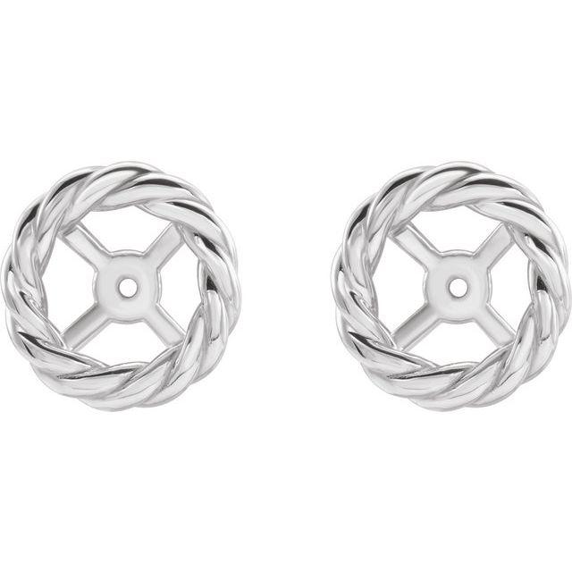 14K White Rope Earring Jackets