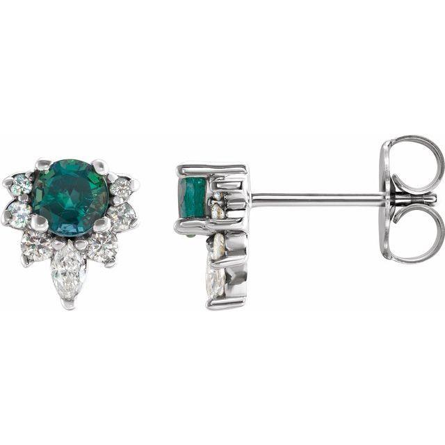 14K White Alexandrite & 1/6 CTW Diamond Earrings