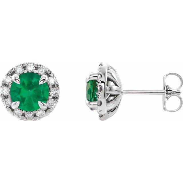 14K White Emerald & 1/5 CTW Diamond Earrings