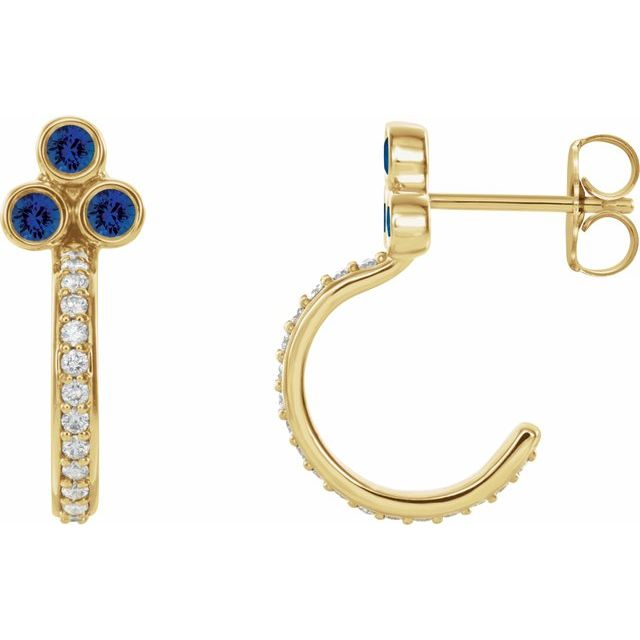 14K Yellow Lab-Grown Blue Sapphire & 1/4 CTW Diamond J-Hoop Earrings