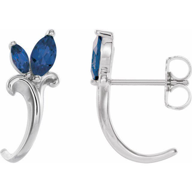 14K White Blue Sapphire Floral-Inspired J-Hoop Earrings