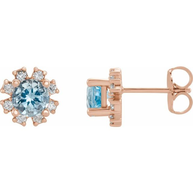 14K Rose Aquamarine & 1/2 CTW Diamond Earrings