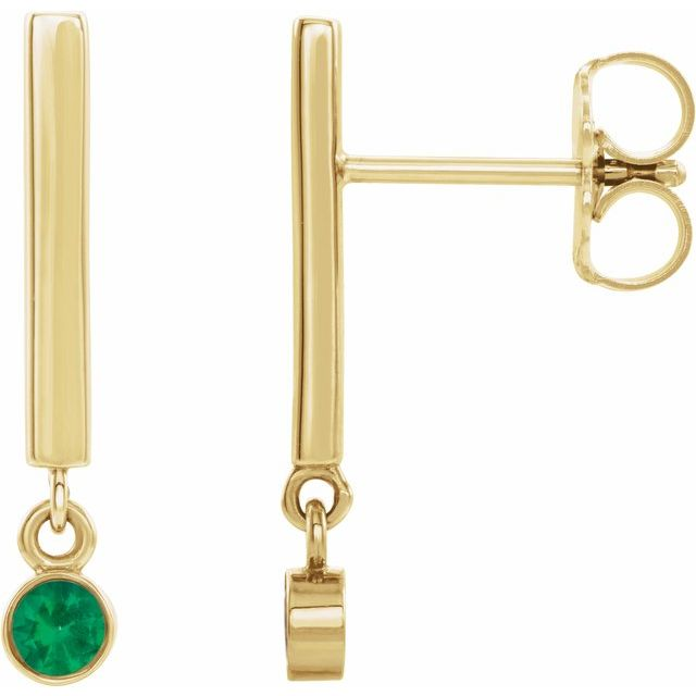 14K Yellow Emerald Bar Earrings
