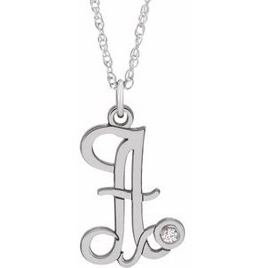 "14K White .02 CT Diamond Script Initial A 16-18"" Necklace"