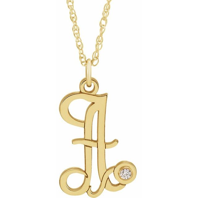 14K Yellow Gold-Plated .02 CT Diamond Script Initial A 16-18
