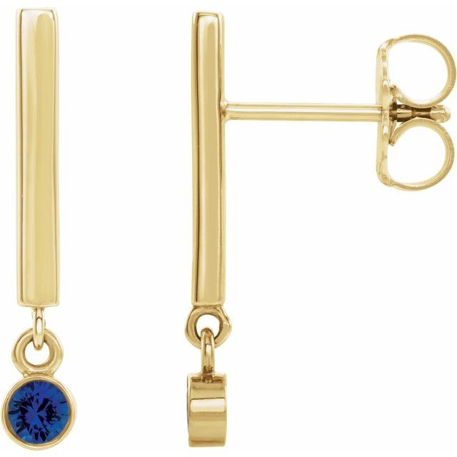 14K Yellow Chatham® Lab-Created Blue Sapphire Bar Earrings