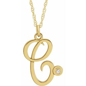 "14K Yellow .02 CT Diamond Script Initial C 16-18"" Necklace"