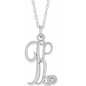 "Sterling Silver .02 CT Diamond Script Initial K 16-18"" Necklace"
