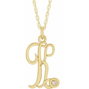 "14K Yellow .02 CT Diamond Script Initial K 16-18"" Necklace"