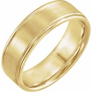 14K Yellow 7 mm Grooved Band Size 10.5