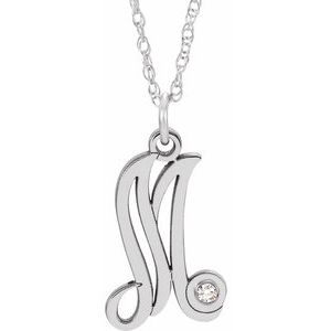 "Sterling Silver .02 CT Diamond Script Initial M 16-18"" Necklace"
