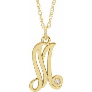 "14K Yellow .02 CT Diamond Script Initial M 16-18"" Necklace"