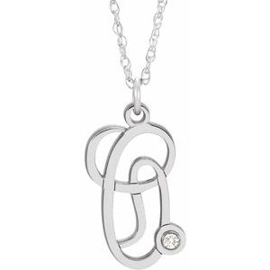 "Sterling Silver .02 CT Diamond Script Initial O 16-18"" Necklace"