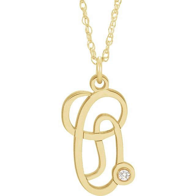 14K Yellow Gold-Plated .02 CT Diamond Script Initial O 16-18