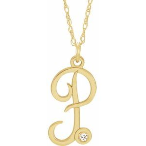 "14K Yellow .02 CT Diamond Script Initial P 16-18"" Necklace"
