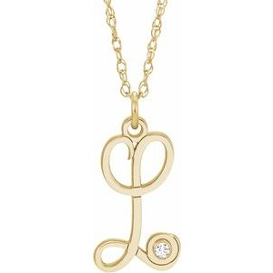 "14K Yellow .02 CT Diamond Script Initial L 16-18"" Necklace"