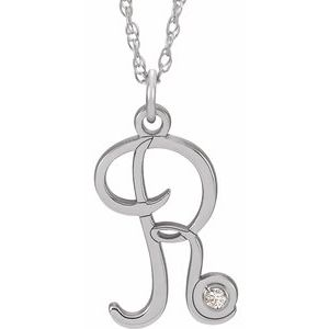 "14K White .02 CT Diamond Script Initial R 16-18"" Necklace"