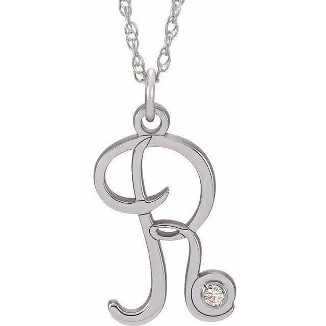 Sterling Silver .02 CT Diamond Script Initial R 16-18