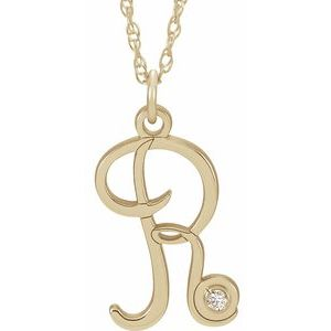 "14K Yellow .02 CT Diamond Script Initial R 16-18"" Necklace"