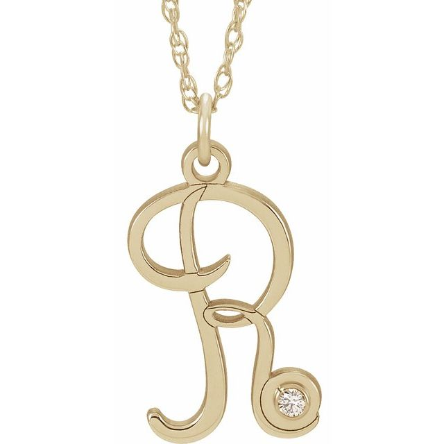 14K Yellow Gold-Plated .02 CT Diamond Script Initial R 16-18