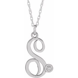 "Sterling Silver .02 CT Diamond Script Initial S 16-18"" Necklace"