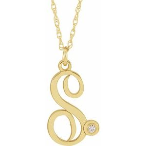 """14K Yellow Gold-Plated .02 CT Diamond Script Initial S 16-18"""" Necklace"""