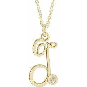 "14K Yellow Gold-Plated .02 CT Diamond Script Initial T 16-18"" Necklace"