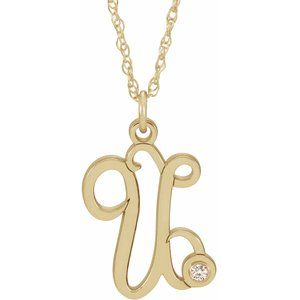 "14K Yellow Gold-Plated .02 CT Diamond Script Initial U 16-18"" Necklace"